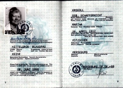 Bild von DDR:  EAST GERMAN PASSPORT – KROGOLL, MARTHA  (1988)