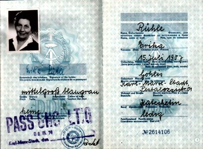 Picture of DDR:  EAST GERMAN PASSPORT – RUHLE, ERIKA  (1970)