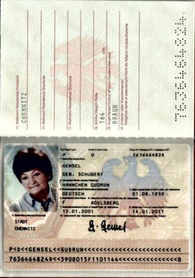Picture of GERMAN PASSPORT  (EU – FORMER DDR) – GENSEL, HANNCHEN  (2001)