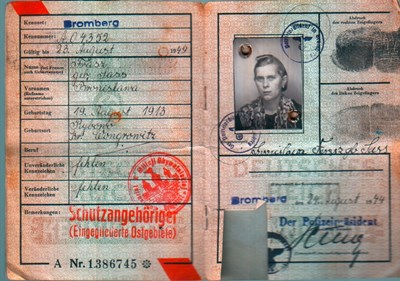 Picture of KENNKARTE #07 - SCHUTZANGEHÖRIGE BROMBERG (issued 24 August 1944)