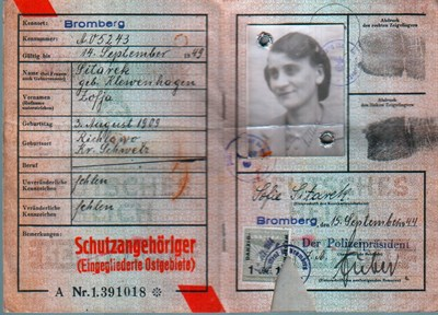 Picture of KENNKARTE #10 - SCHUTZANGEHÖRIGE BROMBERG (issued 15 September 1944)