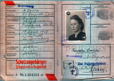 Picture of KENNKARTE #15 - SCHUTZANGEHÖRIGE BROMBERG (issued 21 August 1944)