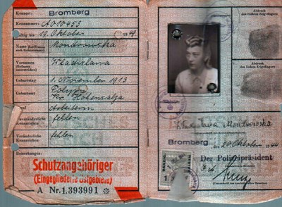 Picture of KENNKARTE #31 - SCHUTZANGEHÖRIGE BROMBERG (issued 20 October 1944)