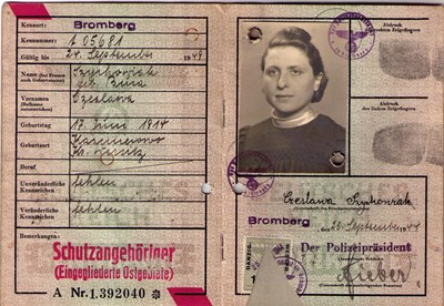 Picture of KENNKARTE #56 - SCHUTZANGEHÖRIGE BROMBERG (issued 25 September 1944)