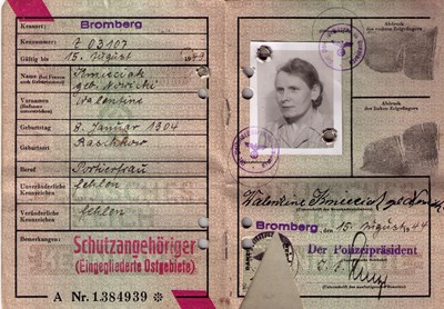 Picture of KENNKARTE #57 - SCHUTZANGEHÖRIGE BROMBERG (issued 15 August 1944)