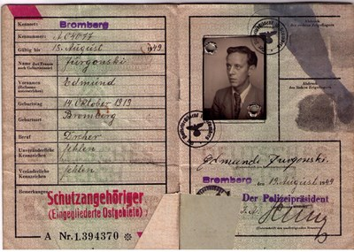 Picture of KENNKARTE #67 - SCHUTZANGEHÖRIGE BROMBERG (issued 19 August 1944)