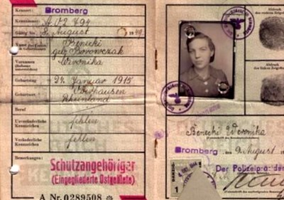 Picture of KENNKARTE #72 - SCHUTZANGEHÖRIGE BROMBERG (issued 09 August 1944)