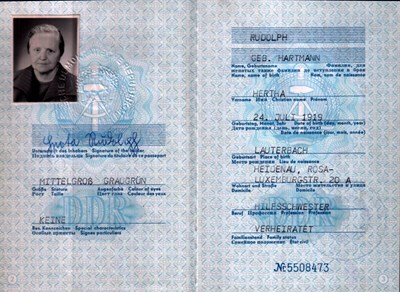 Picture of DDR:  EAST GERMAN PASSPORT – RUDOLPH, HERTHA  (1977)
