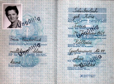 Picture of DDR:  EAST GERMAN PASSPORT – SAUBERLICH, FREIA  (1971)