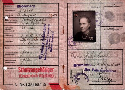 Picture of KENNKARTE #80 - SCHUTZANGEHÖRIGE BROMBERG (issued 14 August 1944)