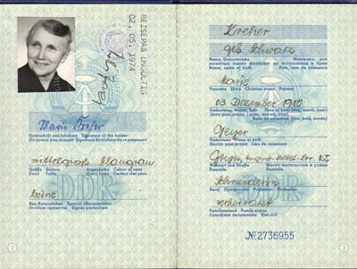 Picture of DDR:  EAST GERMAN PASSPORT - KREHER, MARIE (1972)