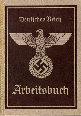Picture of NAZI GERMANY:  ARBEITSBUCH ISSUED IN WALDENBURG, SILESIA  (Thiem, Erma - 1943)