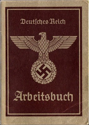 Picture of NAZI GERMANY:  ARBEITSBUCH ISSUED IN BRESLAU, SILESIA  (Lindner, Franz - 1940)
