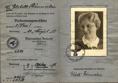 Picture of GERMANY:  DRIVER'S LICENSE  (HAMMERLEIN, ELSBETH - 1937)
