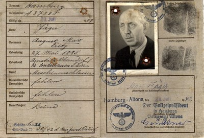 Picture of KENNKARTE #93 - DEUTSCHES REICH - HAMBURG-ALTONA  (issued 20 July 1942)