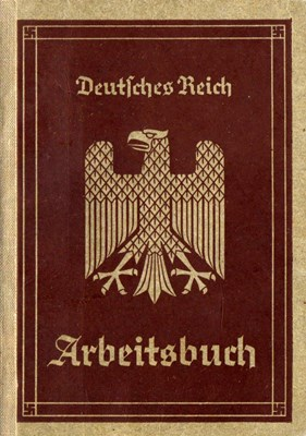 Picture of NAZI GERMANY:  ARBEITSBUCH ISSUED IN HAMBURG  (Fraderich, Herbert - 1936)