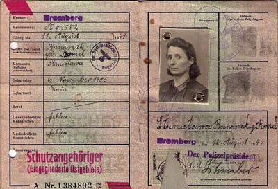 Picture of KENNKARTE (#118) - SCHUTZANGEHÖRIGE BROMBERG  (issued 12 August 1944)
