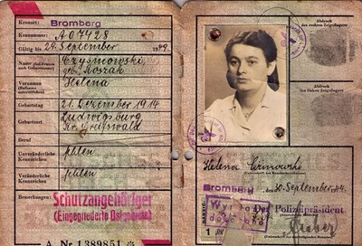 Picture of KENNKARTE (#124) - SCHUTZANGEHÖRIGE BROMBERG  (issued 30 September 1944)