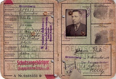 Picture of KENNKARTE (#127) - SCHUTZANGEHÖRIGE BROMBERG  (issued 09 November 1944)