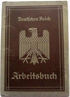 Picture of NAZI GERMANY:  ARBEITSBUCH ISSUED IN GLEIWITZ  (Kachel, Josef - 1935)