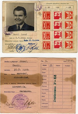 Picture of CZECHOSLOVAKIA:  TWO (2) x SOKOL MEMBERSHIP CARDS  (Hasil, Josef - 1939 & 1945)