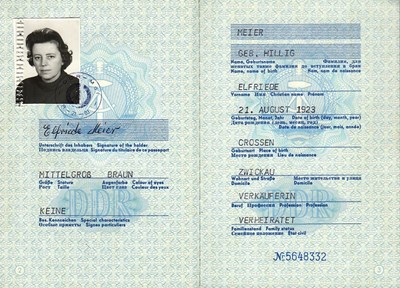 Picture of DDR:  EAST GERMAN PASSPORT – MEIER, ELFRIEDE (1985)