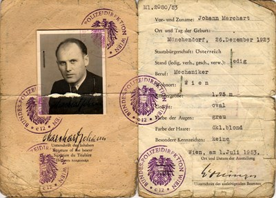 Picture of AUSTRIA:  IDENTITY CARD ISSUED IN OCCUPIED VIENNA  (MERCHART, JOHANN - 1953)