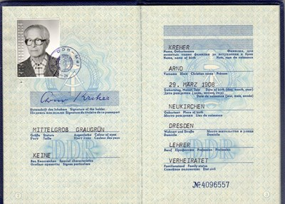Picture of DDR:  EAST GERMAN PASSPORT - KREHER, ARNO  (1987)