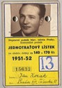 Picture of CZECHOSLOVAKIA:  REDUCED FARE ID  (Prague - 1951)  (# 4970)
