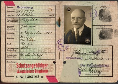 Picture of KENNKARTE (#145) - SCHUTZANGEHÖRIGE BROMBERG  (16 October 1944) (# 5171)