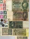 Bild von NAZI GERMANY BANKNOTE, COIN, POSTCARD AND STAMP SET # 124