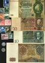 Picture of NAZI GERMANY BANKNOTE, COIN AND STAMP SET # 47