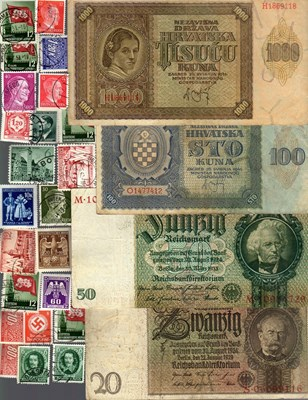 Picture of NAZI GERMANY and CROATIA BANKNOTE, COIN AND STAMP SET # 79