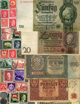 Picture of NAZI GERMANY AND CROATIA BANKNOTE, COIN AND STAMP SET * K *