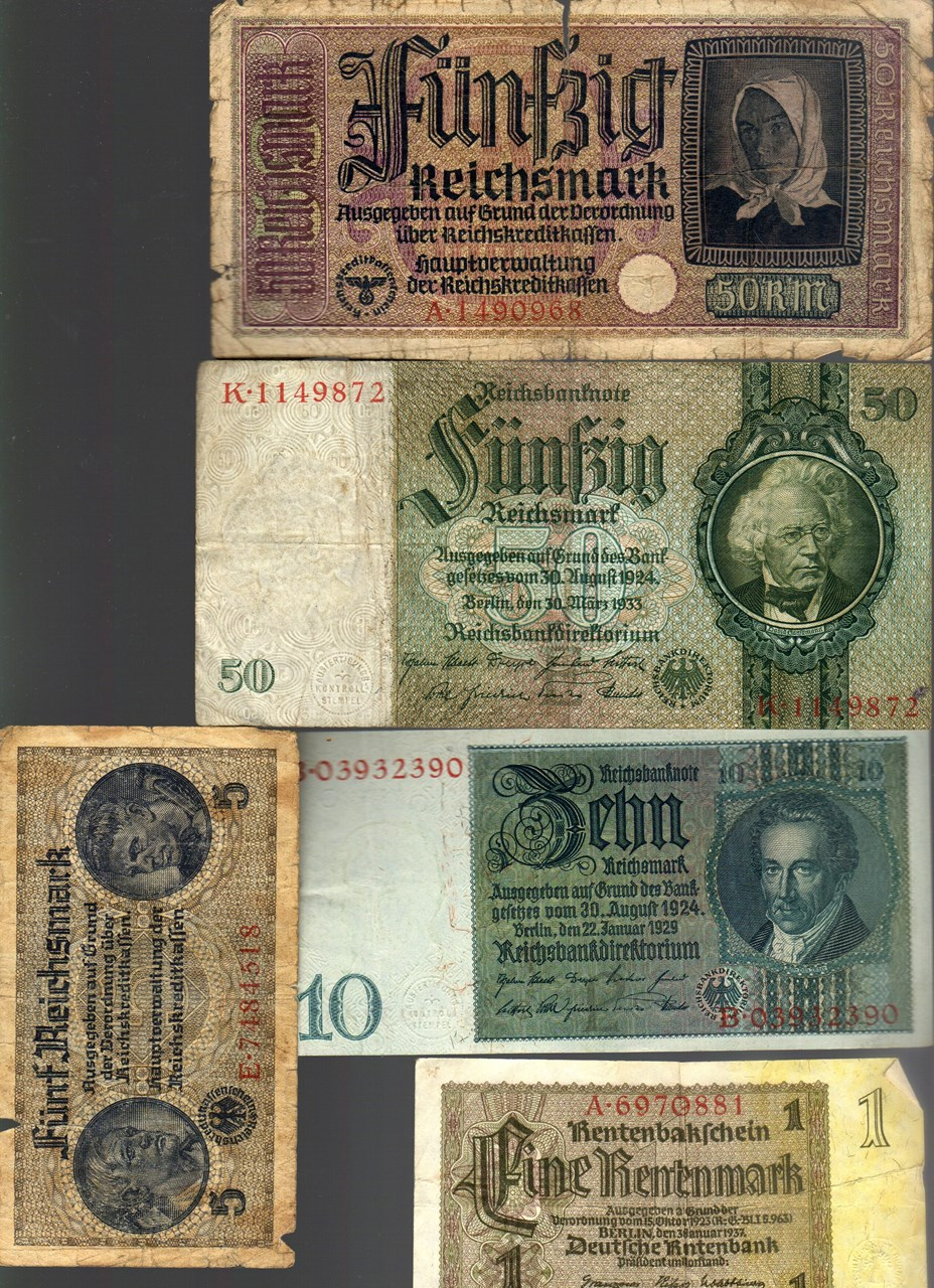 NAZI GERMANY and CROATIA BANKNOTE, COIN AND STAMP SET # 17