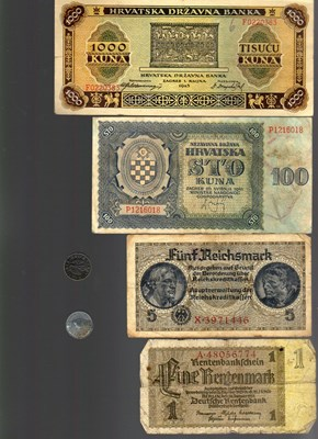 Bild von NAZI GERMANY and CROATIA BANKNOTE, COIN AND STAMP SET # 42
