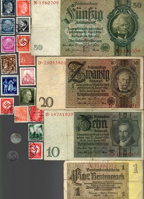 Picture of NAZI GERMANY, CROATIA AND YUGOSLAVIA BANKNOTE, COIN AND STAMP SET # 139