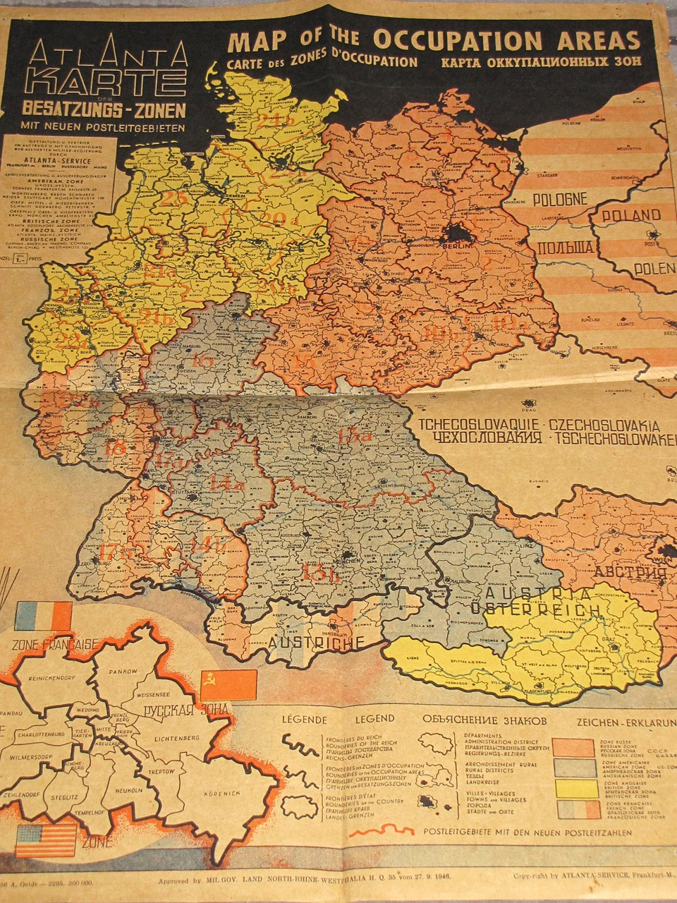 1946 MAP OF THE OCCUPIED ZONES OF GERMANY