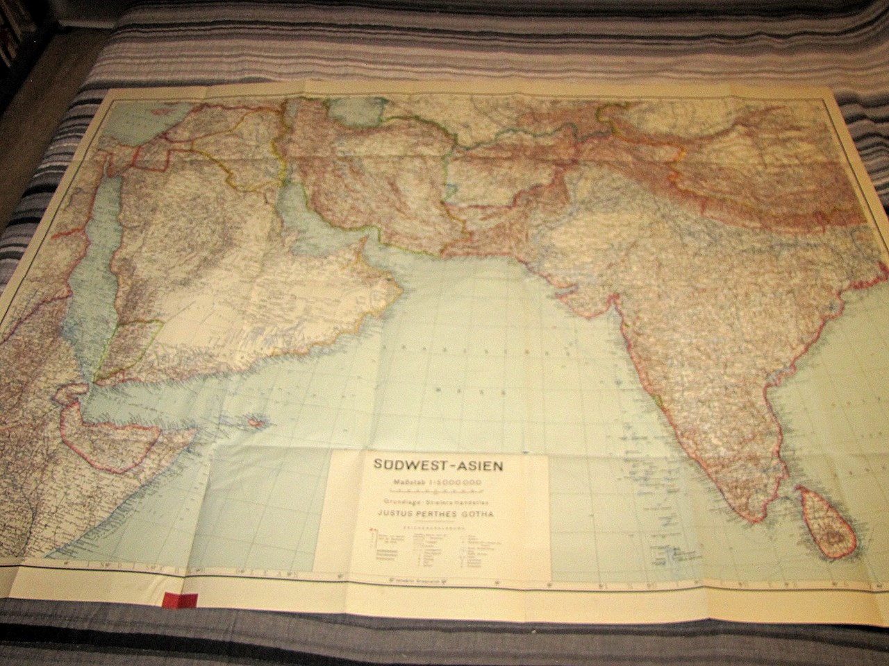 WWII GERMAN MAP OF SOUTHWEST ASIA (1942)