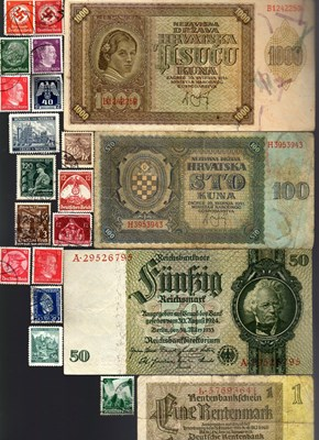 Bild von NAZI GERMANY and CROATIA BANKNOTE, COIN AND STAMP SET # 115